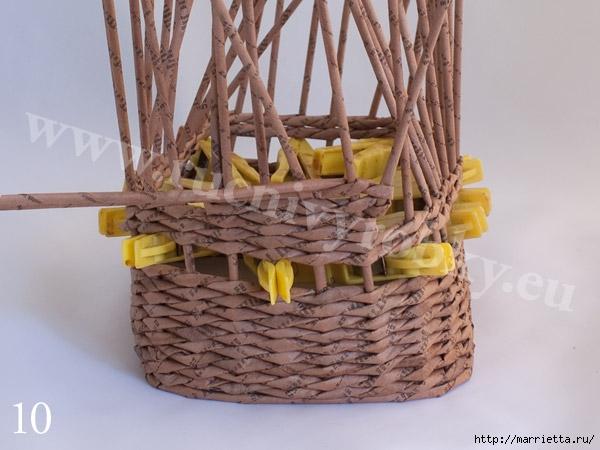 плетение из газет. пасхальная корзинка-заяц (13) (600x450, 149Kb)