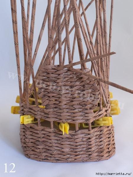 плетение из газет. пасхальная корзинка-заяц (15) (450x600, 177Kb)