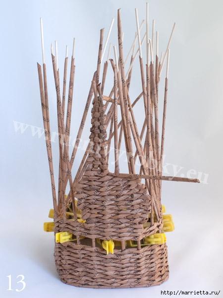 плетение из газет. пасхальная корзинка-заяц (16) (450x600, 142Kb)