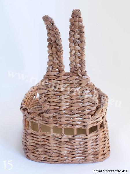 плетение из газет. пасхальная корзинка-заяц (18) (450x600, 136Kb)