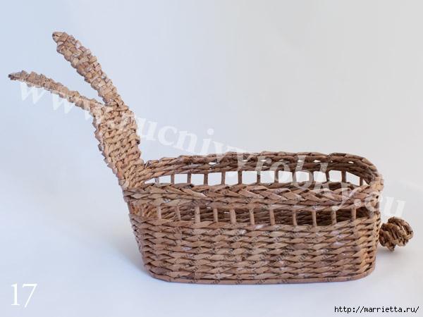 плетение из газет. пасхальная корзинка-заяц (20) (600x450, 112Kb)