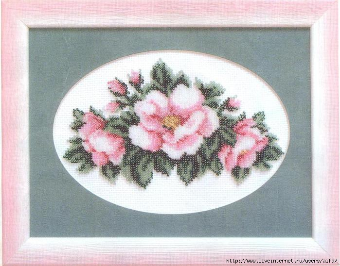 Вышивание бисером Чайные розы, Чарiвна Мить Б-036 купить в санкт петербурге Шале, Aida 14 (K5.5).