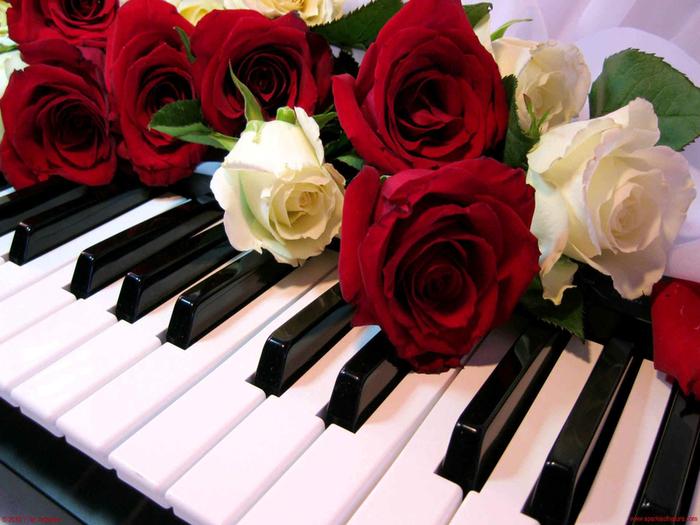 Картинки пианино и цветы 6