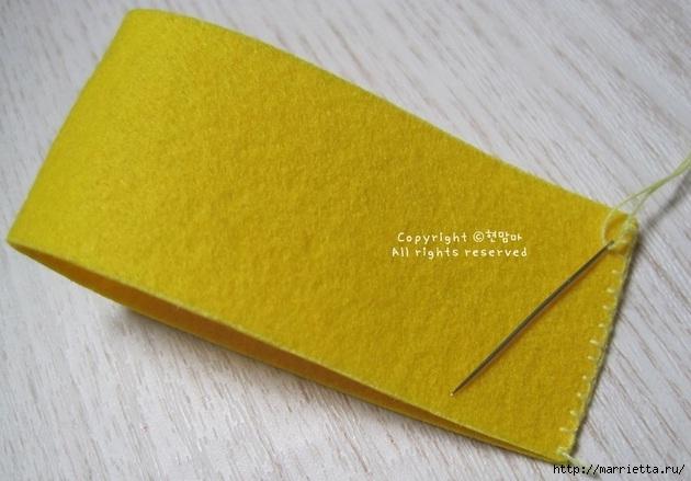 Маленький букетик цветов из фетра. Сувенирный брелок (22) (630x439, 160Kb)