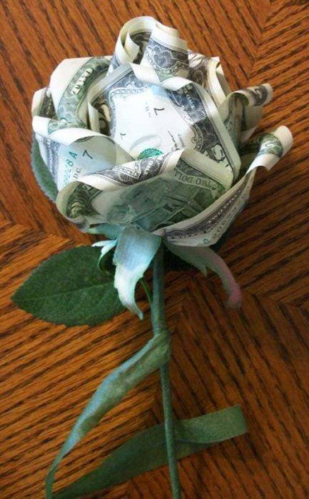 Как сделать цветок из денежных