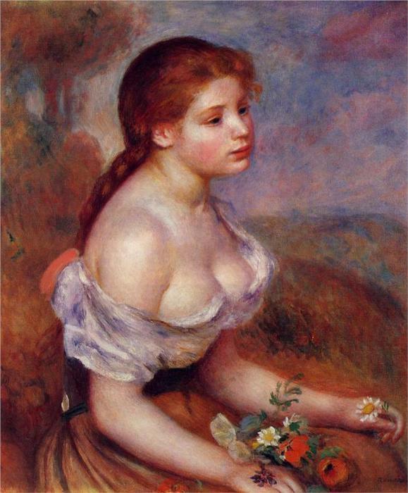 Молодая девушка с ромашками, 1889 (579x700, 60Kb)