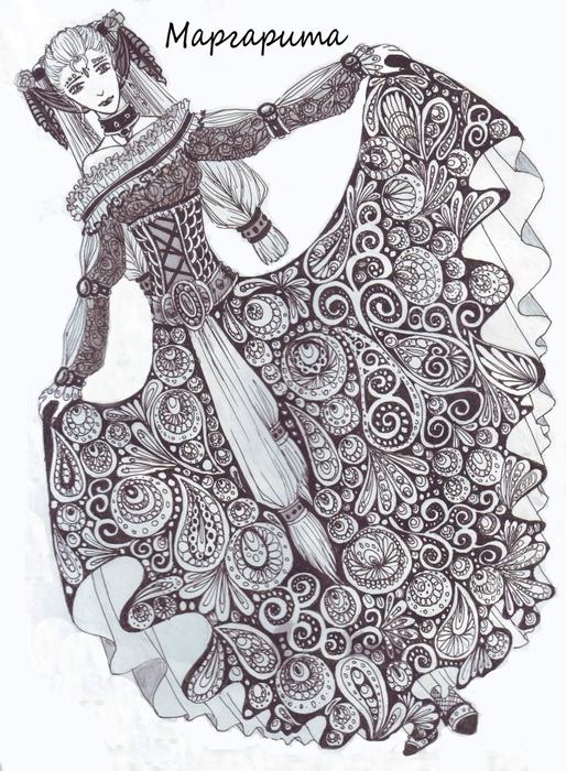 Платья черной ручкой
