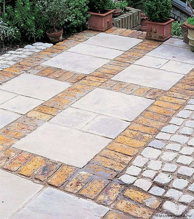 Патио для сада из тротуарной плитки и кирпича (9) (621x700, 498Kb)