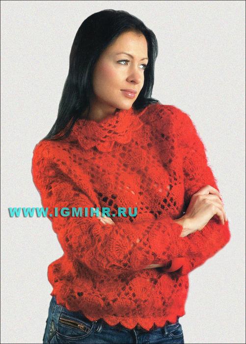 Красный мохеровый свитер. Крючок
