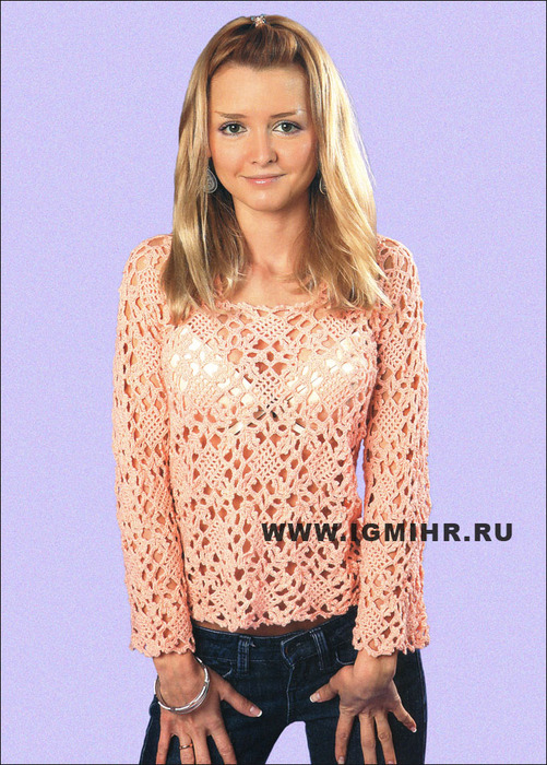 Воздушный ажур. Пуловер персикового цвета из квадратов. Крючок