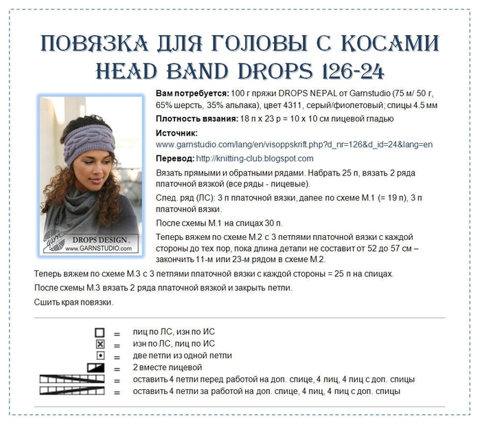 Спицами. Повязка для головы. Схема и описание (3) (700x618, 266Kb)