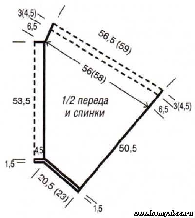 Вязание спицами. Пуловер - пончо (1) (400x447, 46Kb)