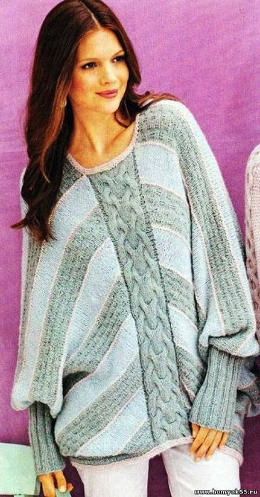 Вязание спицами. Пуловер - пончо (3) (366x700, 231Kb)