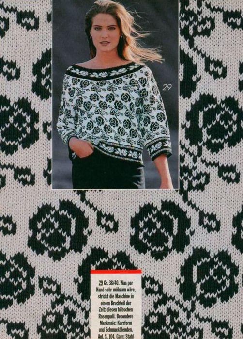 Жаккардовый пуловер с розами (2) (502x699, 261Kb)