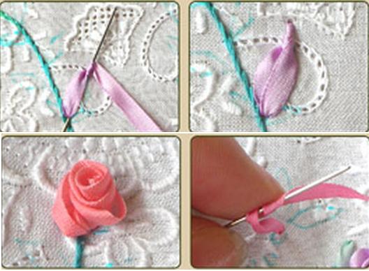 Урок вышивки лентами букетика на подушке (6) (528x388, 387Kb)