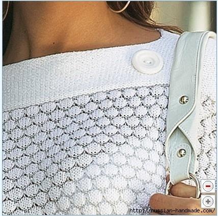 Нежность белого цвета. Пуловер и ажурная туника спицами (9) (428x424, 156Kb)