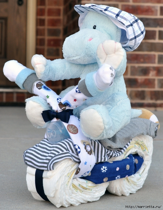 Motocicleta de los pañales - el mejor regalo para un recién nacido.  Master Class (12) (545x700, 305Kb)