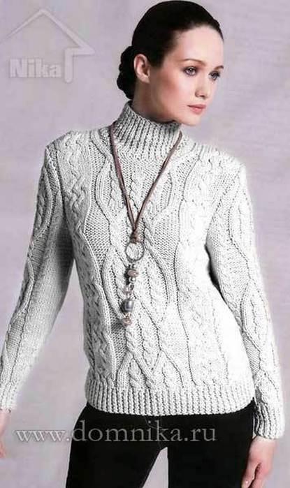 Вязаный Пуловер С Косами