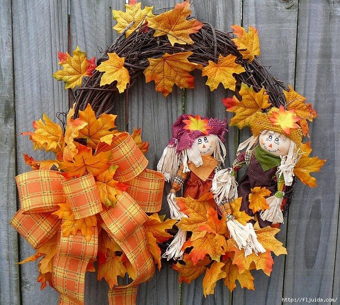 Осенний декор из листьев в интерьере своими руками