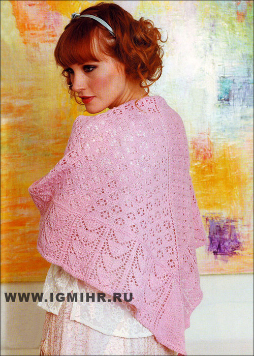 Розовая ажурная шаль, от финских дизайнеров. Спицы