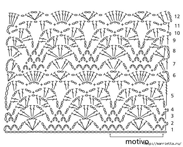 Скатерть и обвязка края крючком. Схемы (3) (586x471, 235Kb)