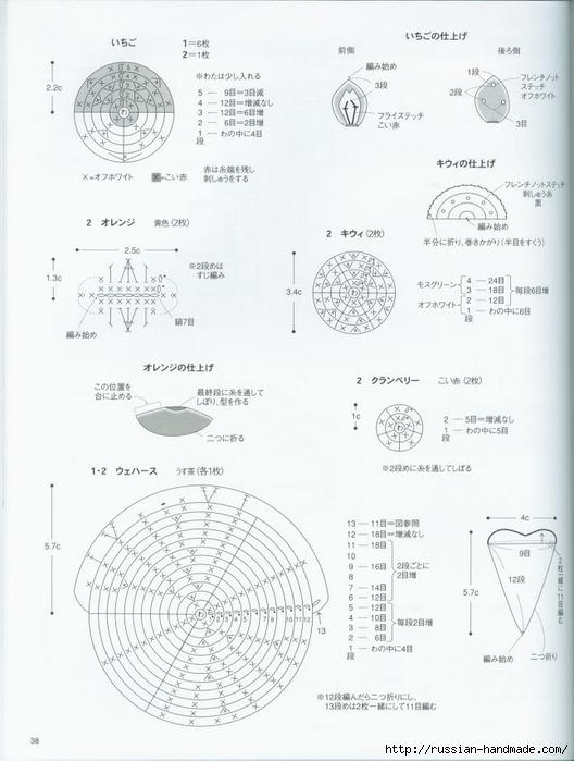 Вяжем крючком пирожные с десертом. Японская книжка со схемами (40) (528x700, 186Kb)