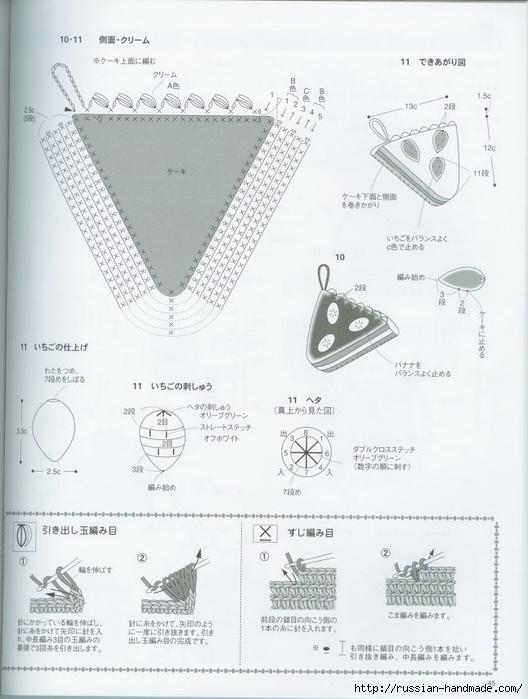 Вяжем крючком пирожные с десертом. Японская книжка со схемами (47) (528x700, 200Kb)