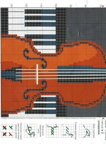 Скрипка. Вышивка крестом.