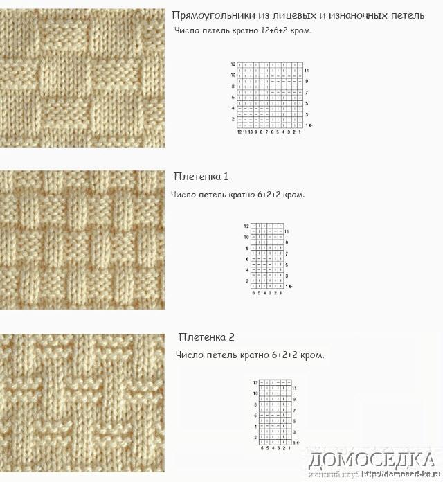Узоры плетения на спицах и их схемы