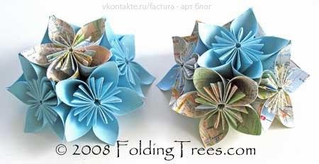 Как сделать из бумаги шарик цветок схема оригами - Поделки