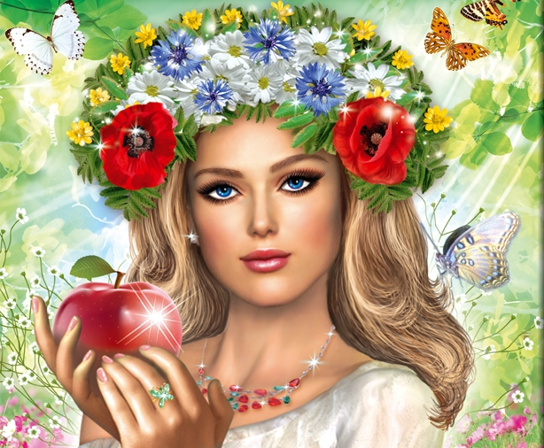 Славянка с яблоком (614x506, 323Kb)