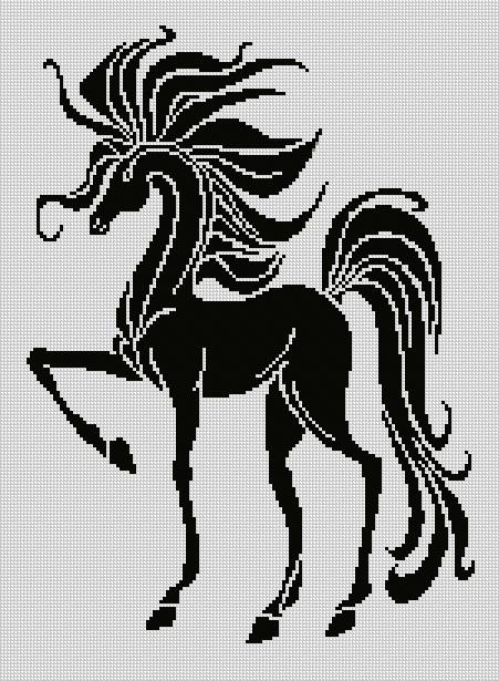 Вышивка лошади монохром схема вышивки