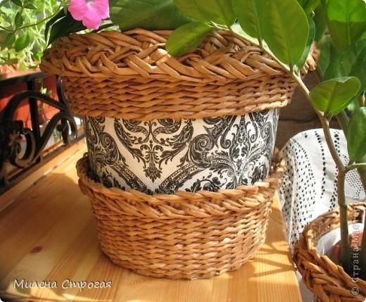 плетение из газет. кашпо для цветов (14) (520x429, 179Kb)