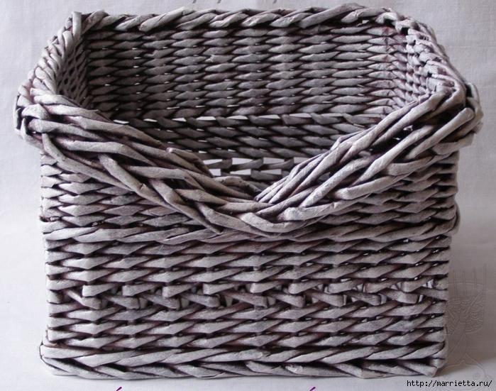 Плетение из газет. Мастер-класс по плетению скошенного верха корзинки (1) (700x551, 327Kb)