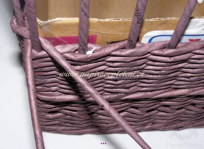 Плетение из газет. Мастер-класс по плетению скошенного верха корзинки (19) (700x512, 592Kb)