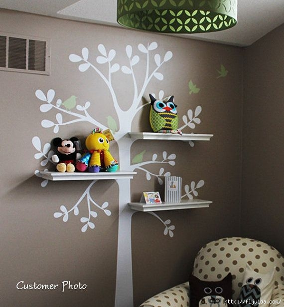 Tree wall decal with shelves