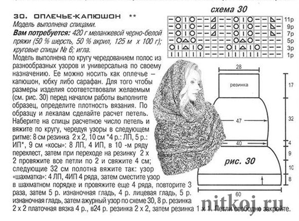 Вязание спицами схемы узоры для капюшона