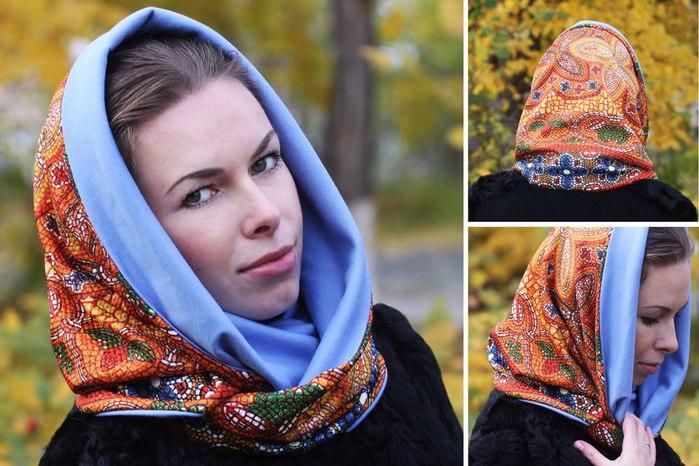 Как сделать платок на шапку 303