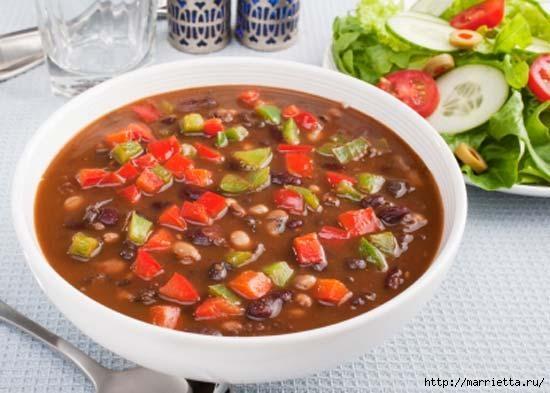 Рецепт мексиканского супа с фасолью и крутонами (1) (550x393, 119Kb)