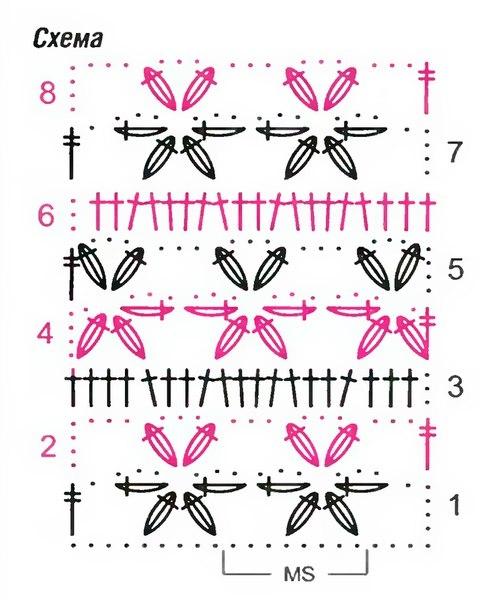 Вязание крючком цветочный узор