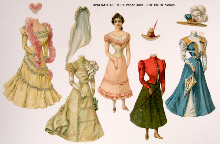 1894 RAPHAEL TUCK Paper Dolls - THE BRIDE Series 600 (700x459, 295Kb)