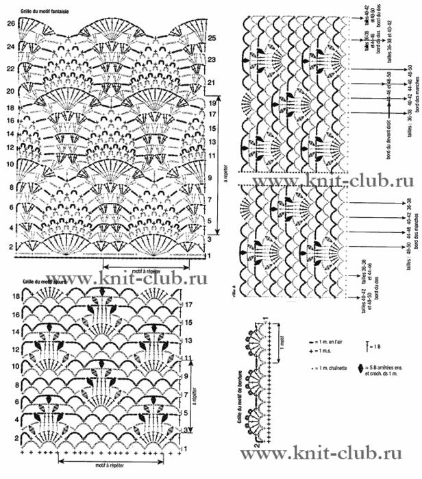 Вязание крючком ажурные жакеты и схемы к  961