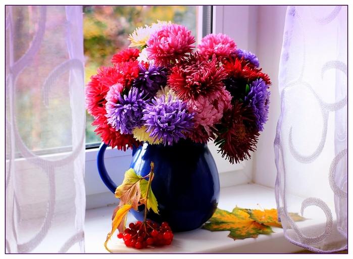Открытки с букетами осенних цветов