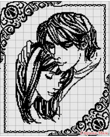 Схема вышивки черно-белая влюбленные