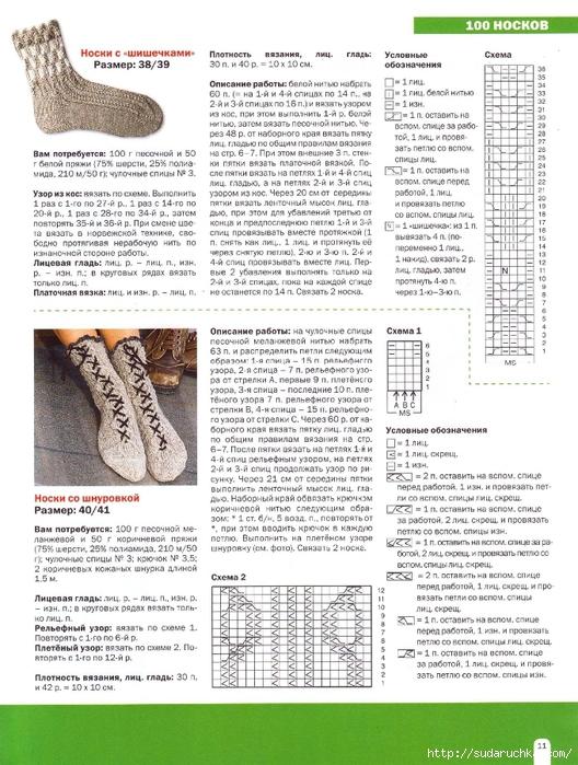 Вязание мужских носков Схемы вязания. ру 44