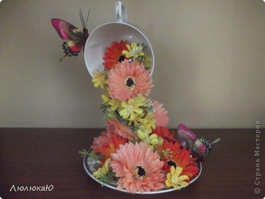 Своими руками чашка с цветами