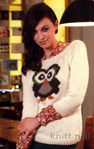 korotkij-pulover-s-motivom-sova-v-texnike-zhakkard (320x504, 57Kb)
