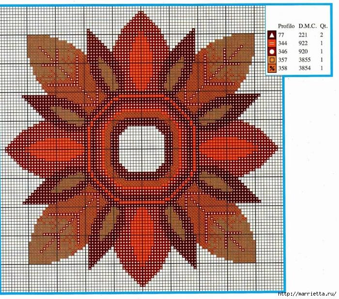 Осенняя вышивка для салфетки. Схема (3) (700x616, 484Kb)