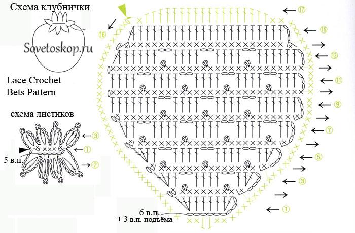 земляника крючком схема с описанием