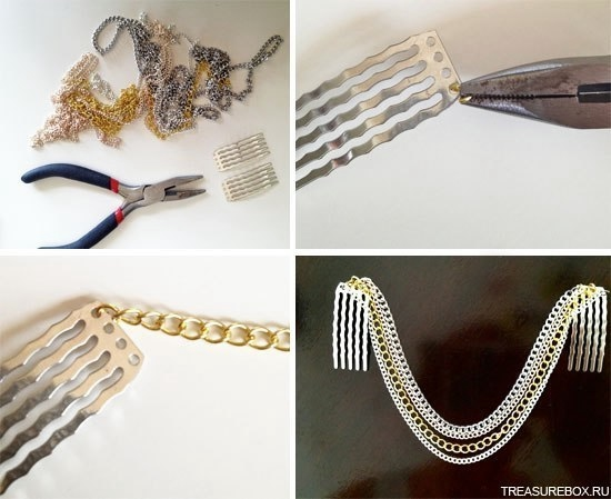 Как сделать цепочку с украшениями
